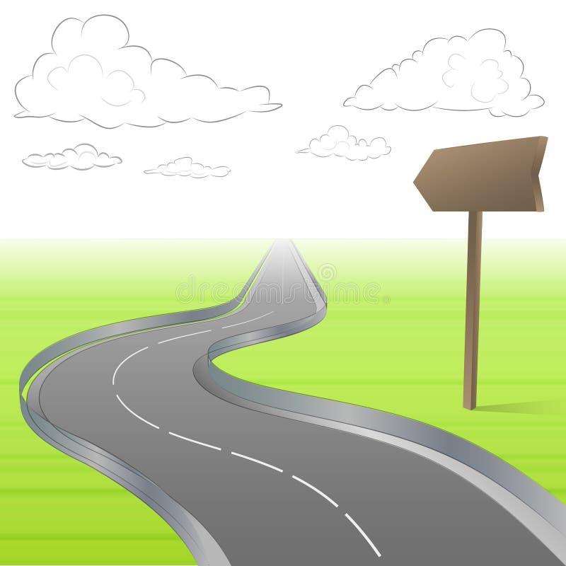 De gebogen autosnelweg in landschap met voorziet van wegwijzers  stock illustratie