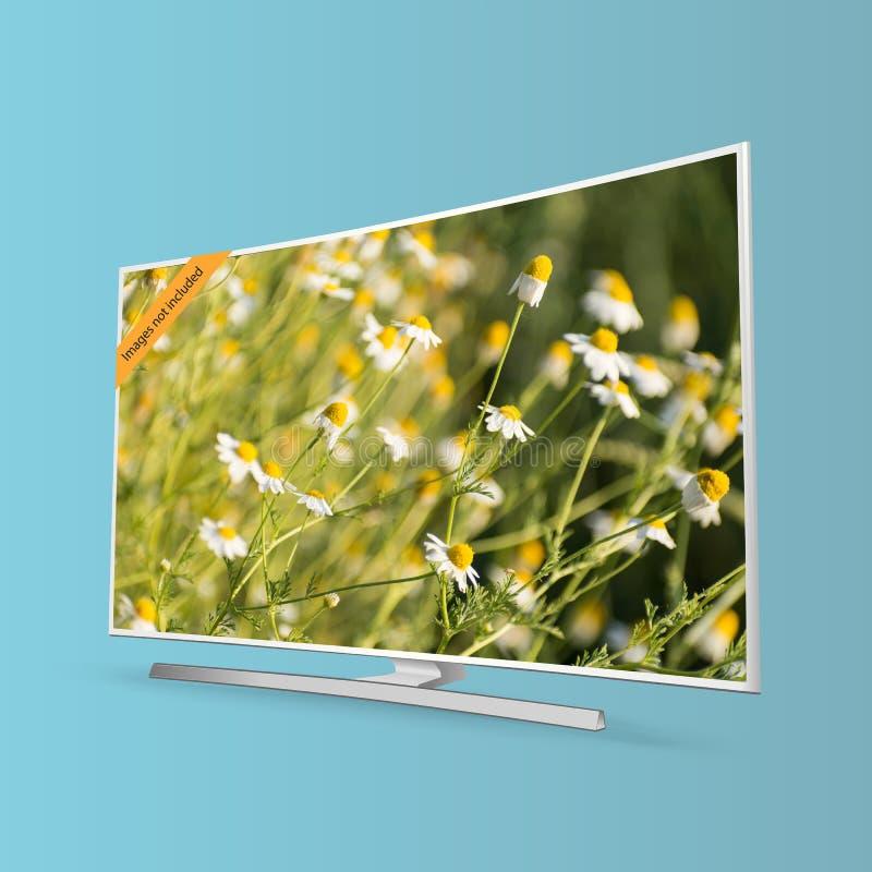 De gebogen slimme die UHD-reeks van TV op blauwe vectorillustratie wordt geïsoleerd als achtergrond vector illustratie