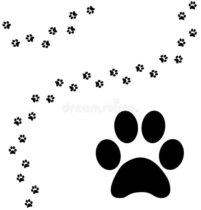 De gebogen weg van de kattenpoot druk royalty-vrije illustratie