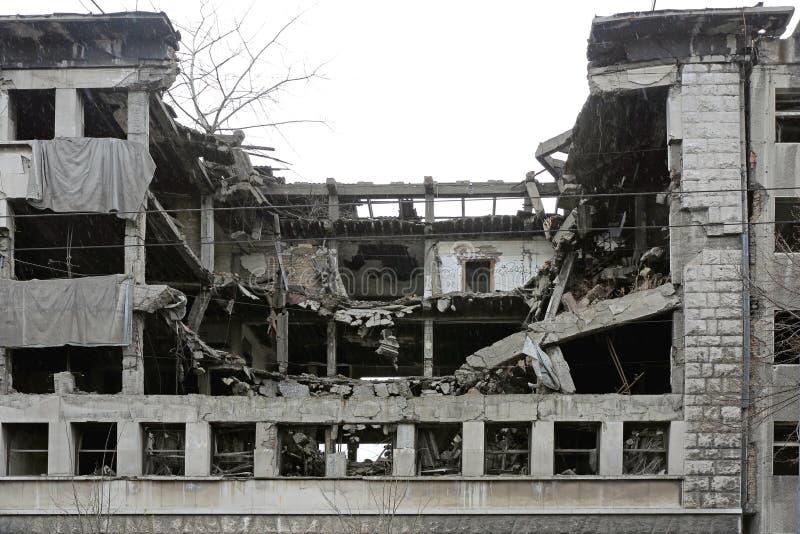 De gebombardeerde Bouw Belgrado royalty-vrije stock fotografie