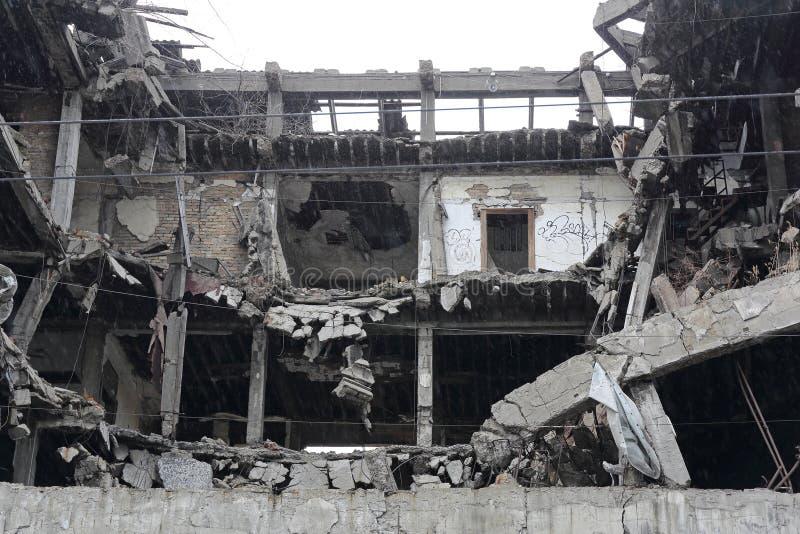 De gebombardeerde Bouw Belgrado Servië stock foto