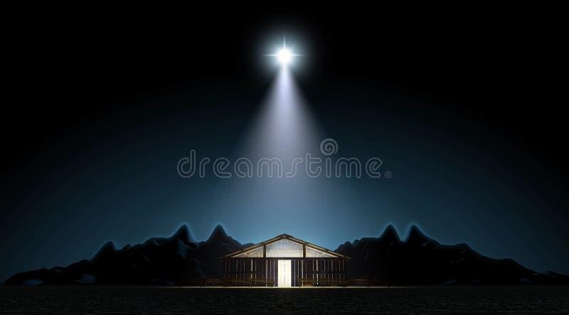 De geboorte van Christus in een stal vector illustratie