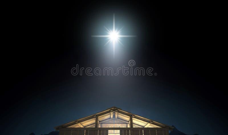 De geboorte van Christus in een stal stock illustratie