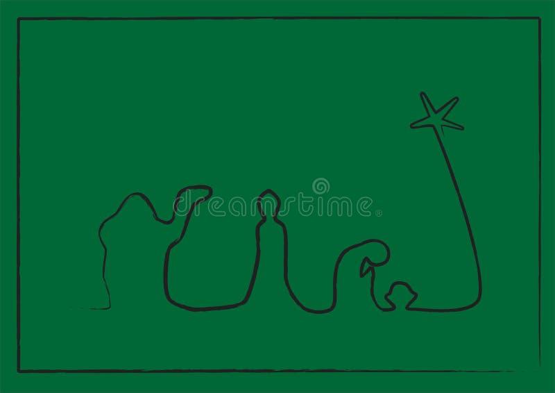 De Geboorte van Christus van de lijn op Groen royalty-vrije illustratie