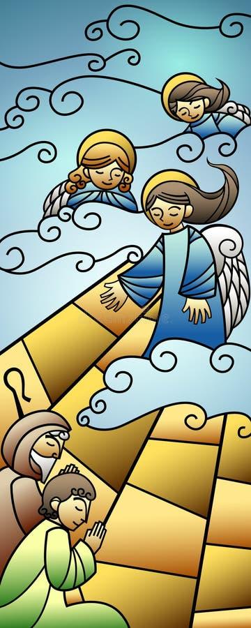 De Geboorte van Christusbanner van het Kerstmisgebrandschilderde glas royalty-vrije illustratie