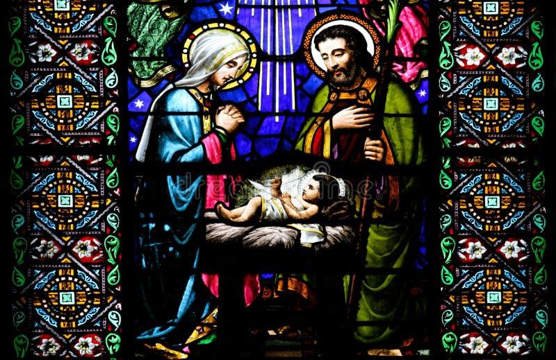 De geboorte van Christusscène royalty-vrije stock foto's
