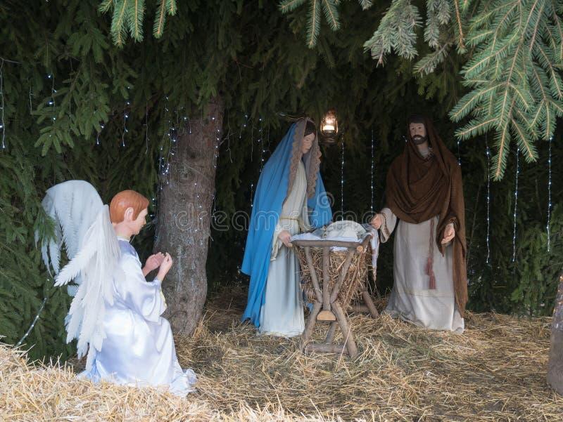 De geboorte van Christusscène van de Kerstmistrog royalty-vrije stock afbeeldingen