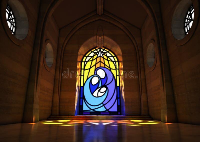 De geboorte van Christussc?ne van het gebrandschilderd glasvenster stock illustratie