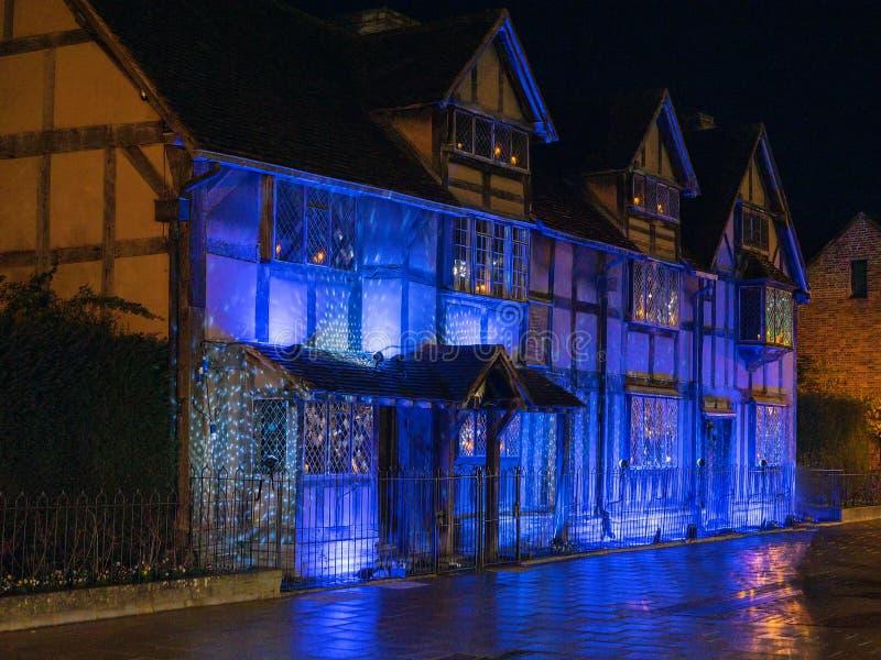 De Geboorteplaats van William Shakespeare bij Kerstmis royalty-vrije stock foto
