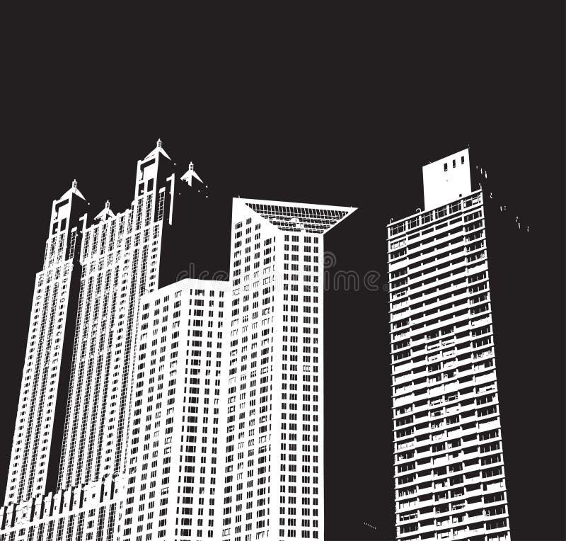 De Gebouwen van de stad bij Nacht royalty-vrije illustratie