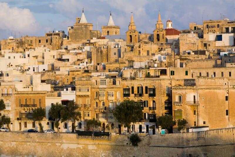 De Gebouwen van de Waterkant van Malta van Valletta royalty-vrije stock fotografie