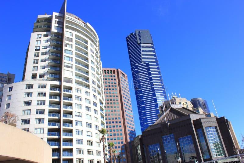 De gebouwen van de wolkenkrabber in Melbourne stock afbeelding