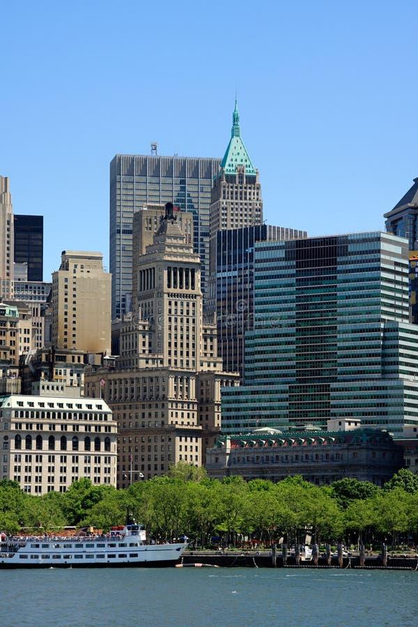 De gebouwen van het Lower Manhattan stock afbeelding