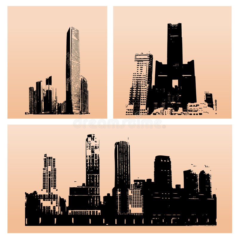 De gebouwen van het silhouet royalty-vrije illustratie