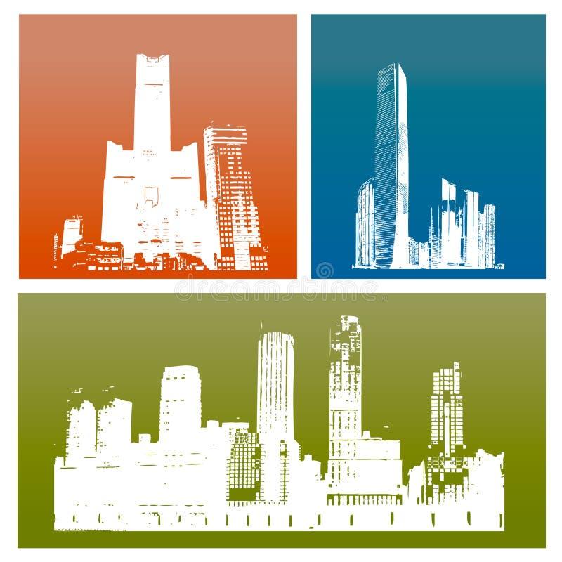 De gebouwen van het silhouet vector illustratie
