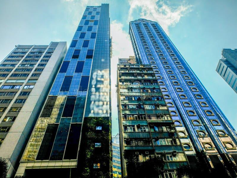 De gebouwen van Hongkong stock foto's