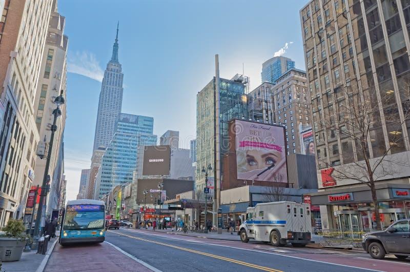 De gebouwen van New York op de Zevende dag van de Wegwinter royalty-vrije stock foto