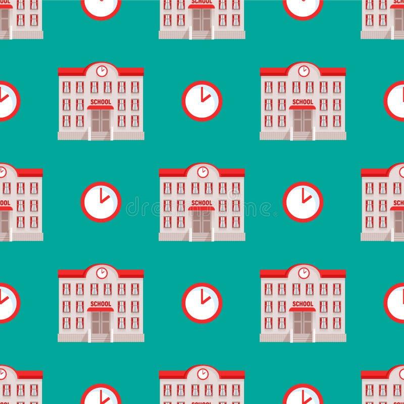 De gebouwen van de stadsgesubsidieerde lage school huisvest de naadloze flat van de de architectuur moderne straat patroon van he vector illustratie