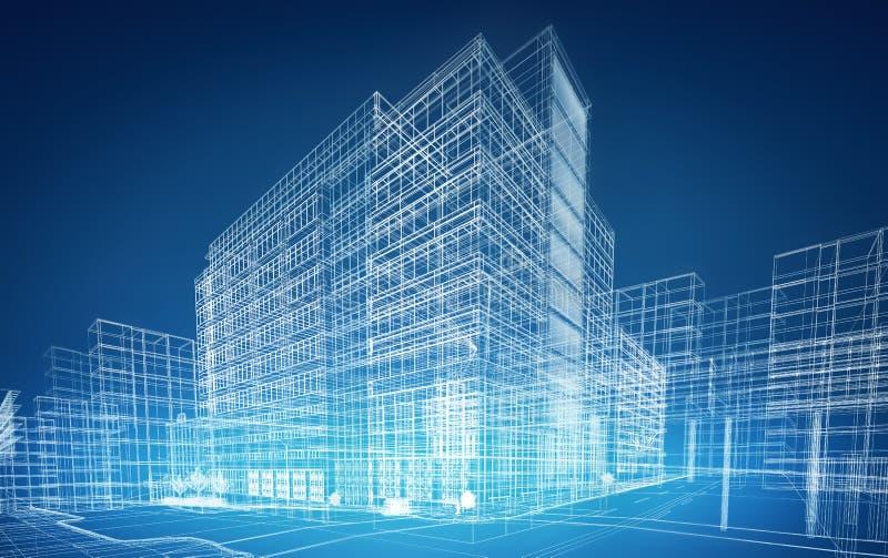 De gebouwen van Wireframe vector illustratie