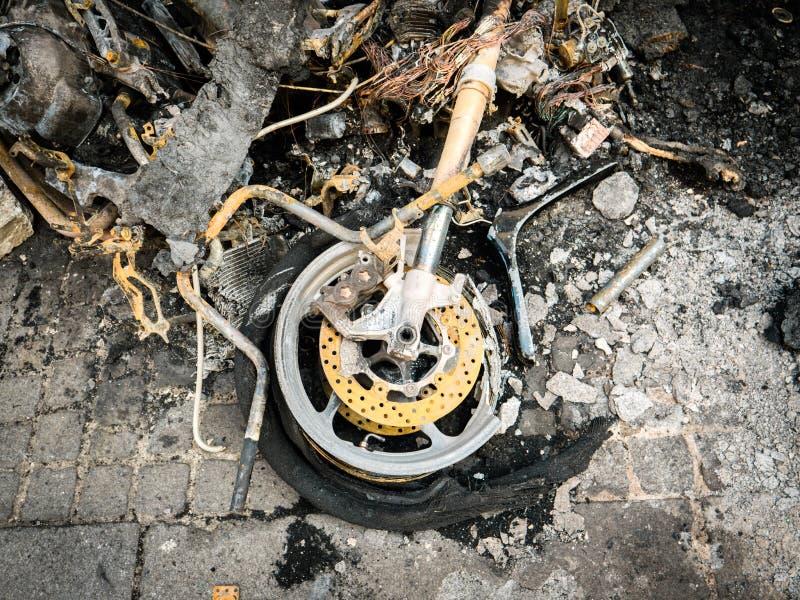 De gebrande motorfiets van de luxesport in Parijs Frankrijk Champs Elysees stock foto's
