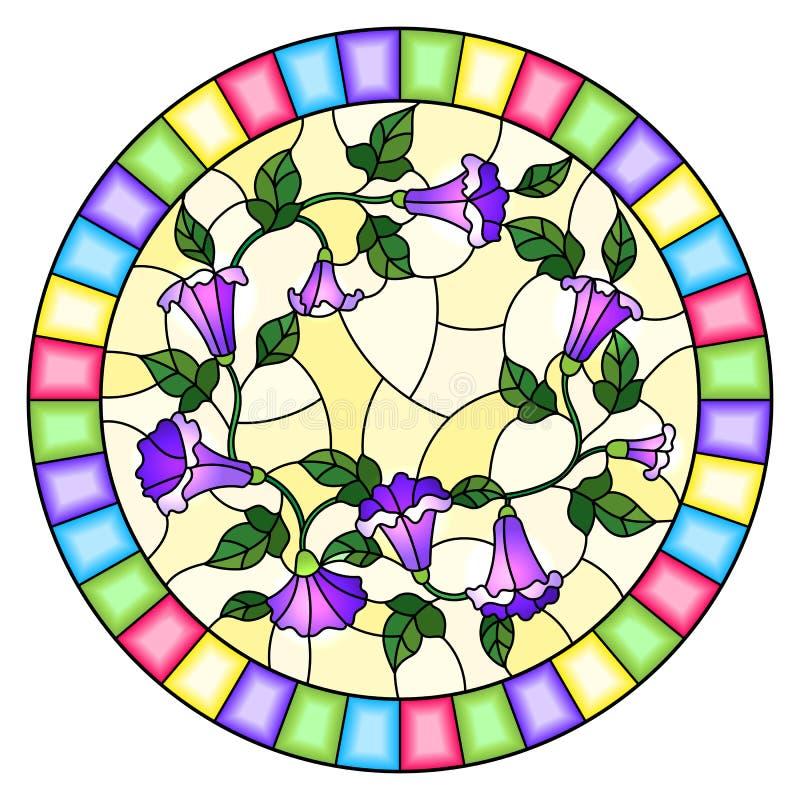 De gebrandschilderd glasillustratie bloeit loach, purpere bloemen en bladeren op gele achtergrond, rond beeld in helder kader stock illustratie