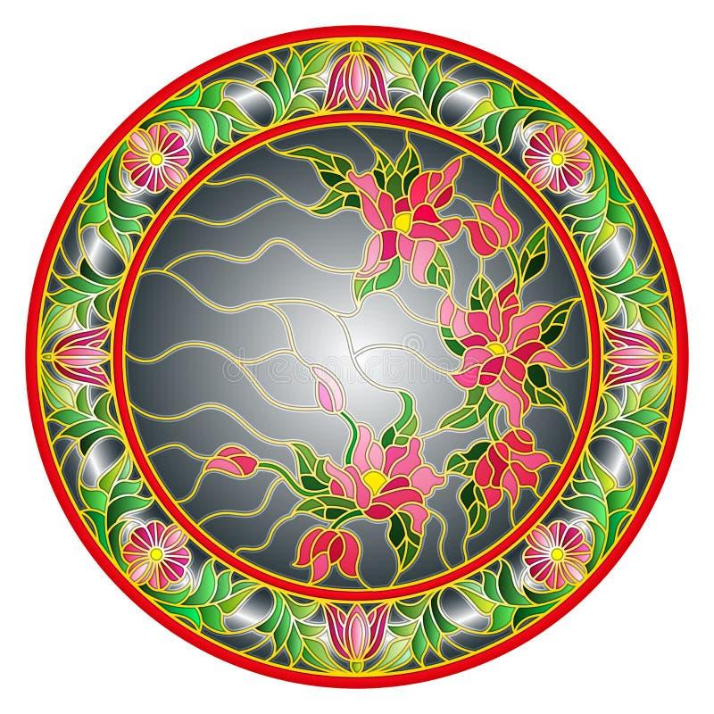 De gebrandschilderd glasillustratie bloeit op een donkere achtergrond in een helder bloemenkader, rond beeld vector illustratie