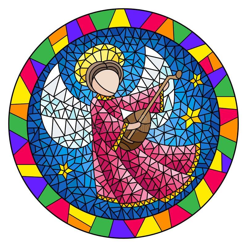 De gebrandschilderd glasillustratie met een abstracte engel in roze robe speelt de luit, rond beeld in een helder kader vector illustratie