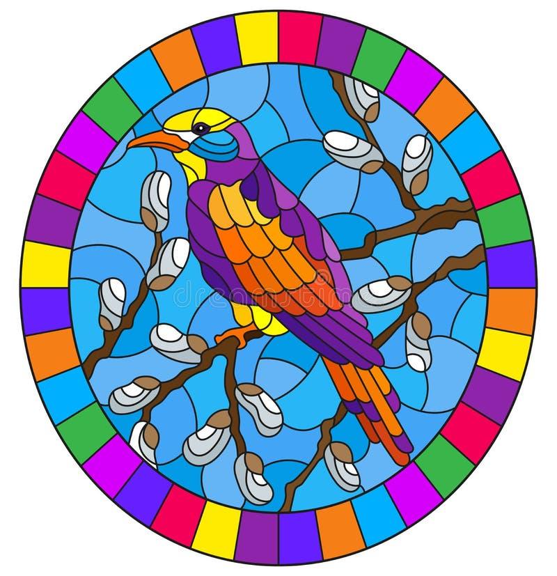 De gebrandschilderd glasillustratie met een heldere vogel op wilg vertakt zich tegen de hemel, ovaal beeld in helder kader stock illustratie