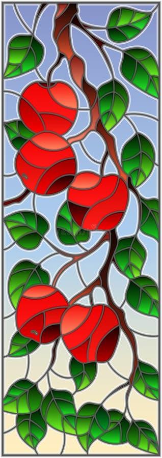 De gebrandschilderd glasillustratie met de takken van Apple-bomen, het fruit vertakt zich en gaat tegen de hemel, verticale richt royalty-vrije illustratie