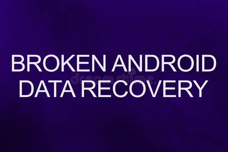De gebroken androïde tekst van de gegevensterugwinning tegen ultraviolette achtergrond vector illustratie