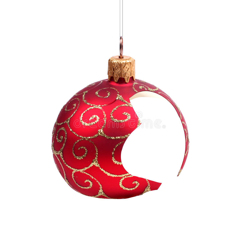De gebroken bal van Kerstmis royalty-vrije stock fotografie