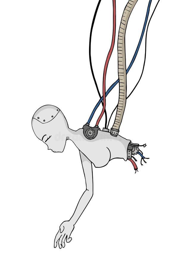 De gebroken cyber vrouw trekt vector illustratie