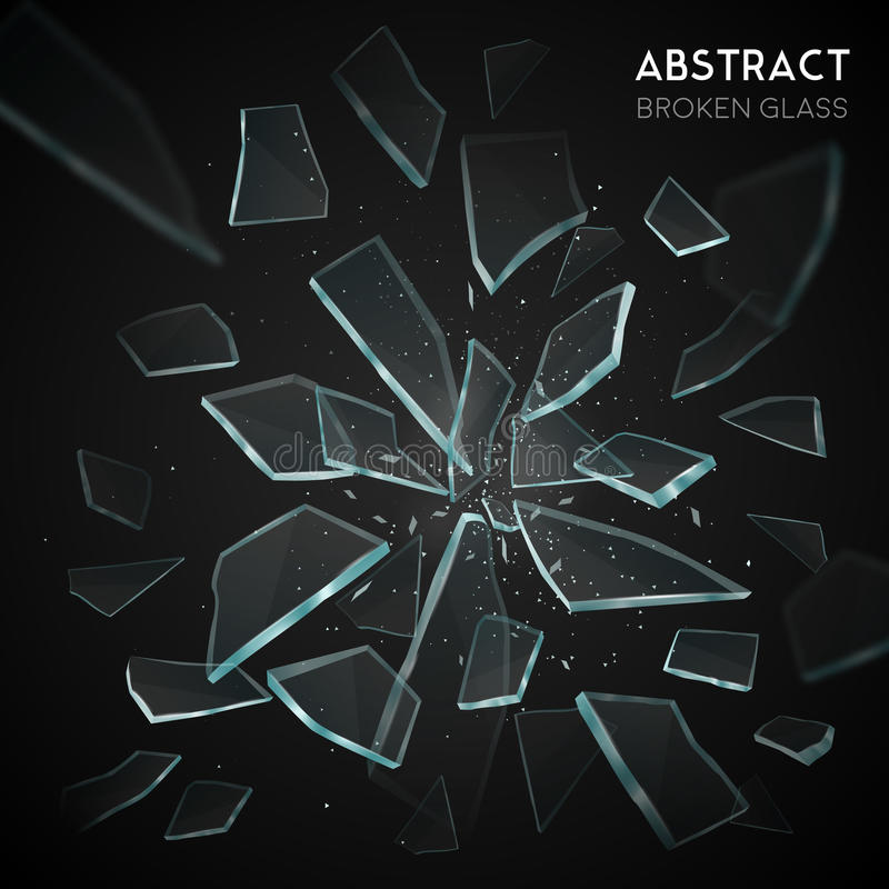 De gebroken Donkere Achtergrond van Glas Vliegende Fragmenten stock illustratie