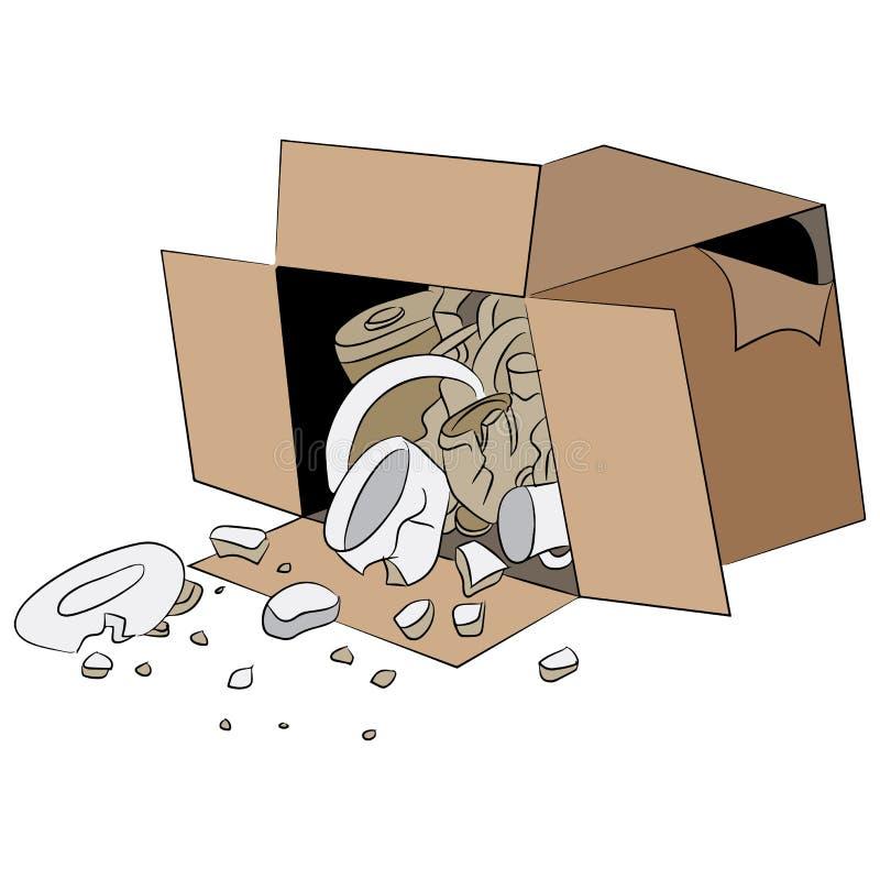 De gebroken Doos van de Leveringsverzending stock illustratie
