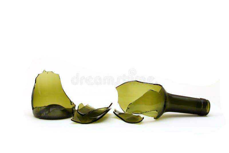 De gebroken Fles van de Wijn stock foto
