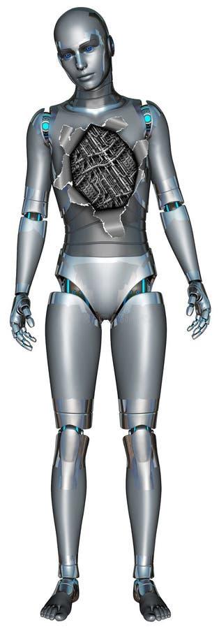 De gebroken Geïsoleerde Technologie van Robotandroid stock illustratie