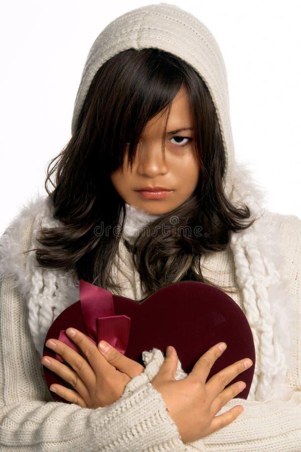 De gebroken Valentijnskaart van het Hart stock foto