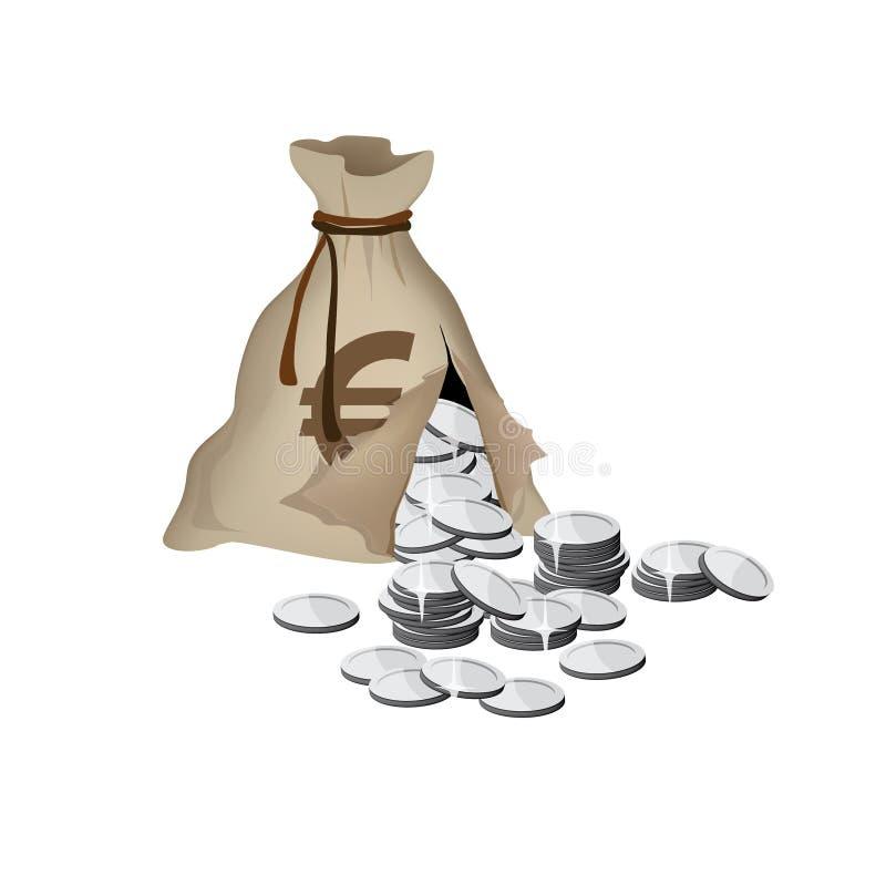 De gebroken zak van het Geld stock illustratie