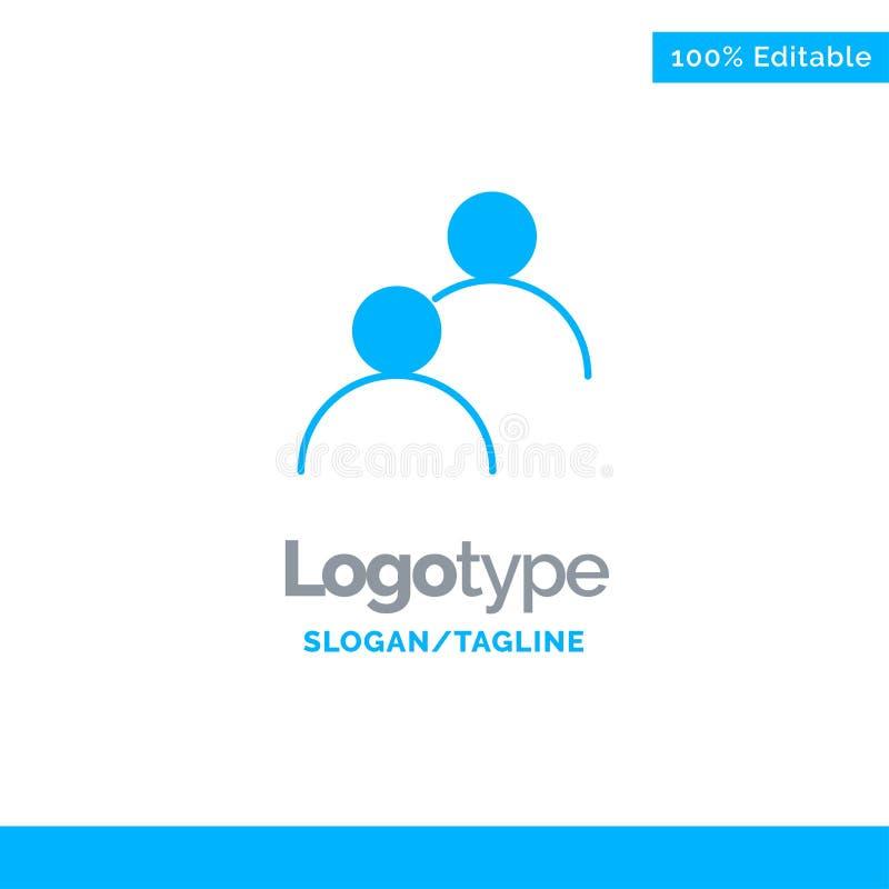 De gebruiker, keek, Avatar, Fundamenteel Blauw Stevig Logo Template Plaats voor Tagline vector illustratie