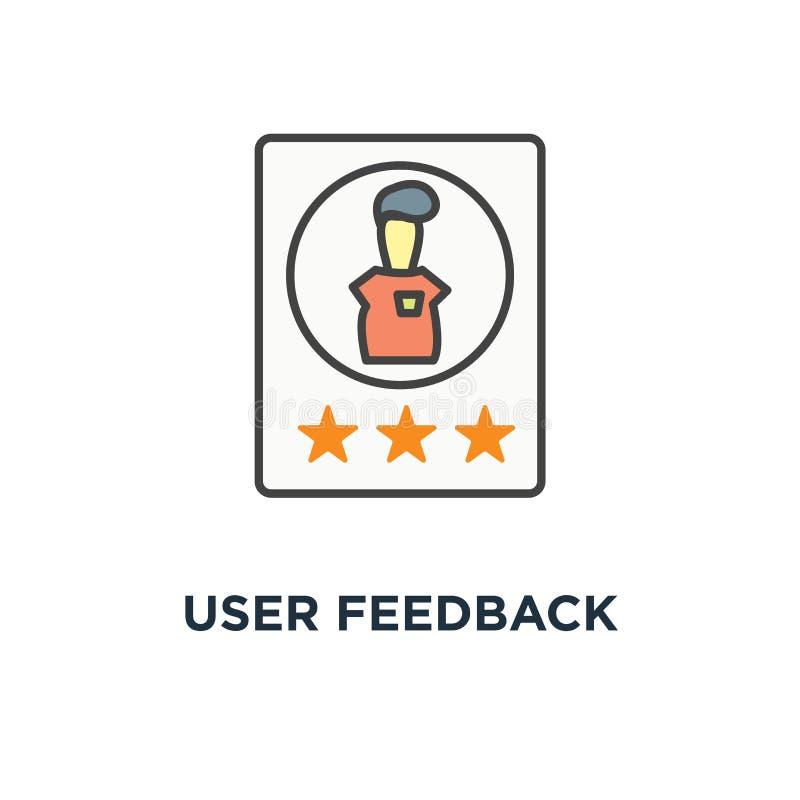 de gebruiker koppelt pictogram, klantenoverzicht, het schatten sterren en geschoten overzicht, leuk beeldverhaal, overzichtsontwe stock illustratie