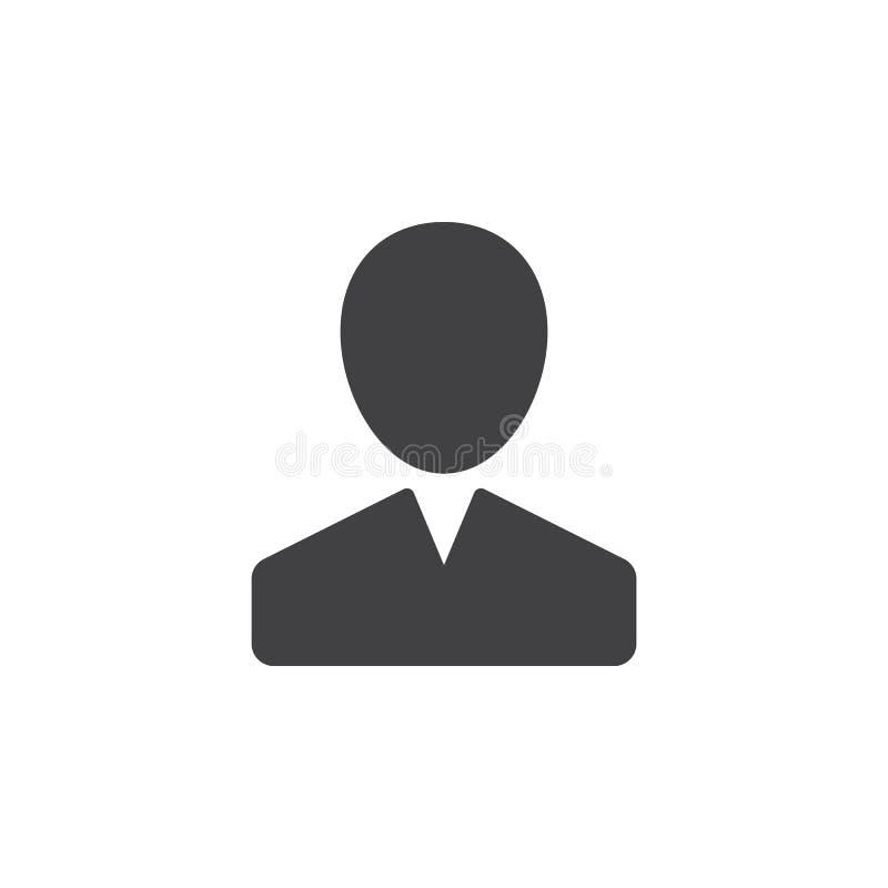 De gebruiker, persoon, de vector van het rekeningspictogram, vulde vlak teken, stevig die pictogram op wit wordt geïsoleerd royalty-vrije illustratie