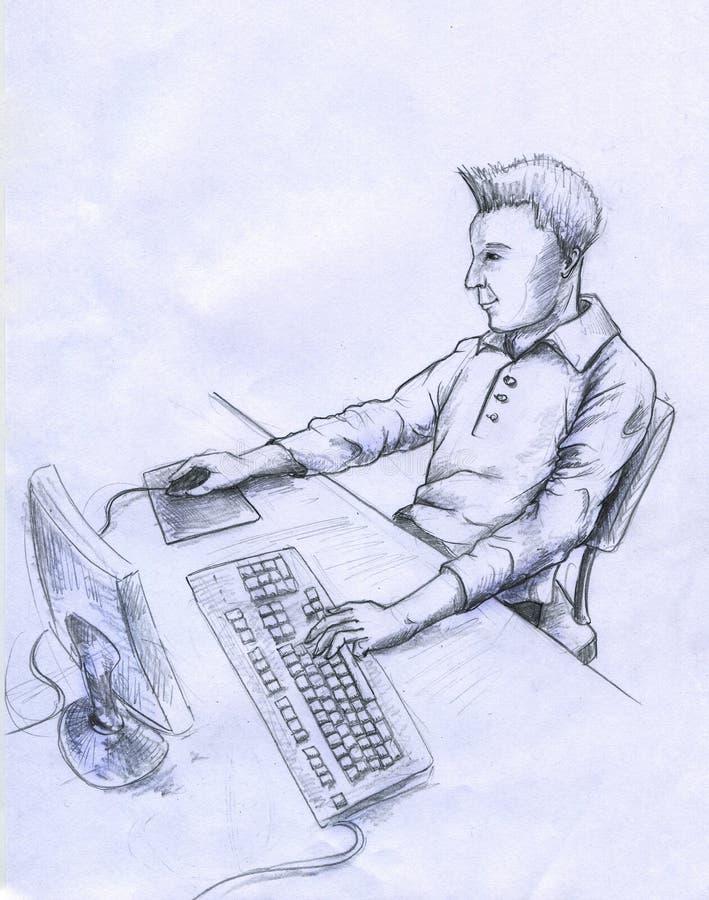 De Gebruiker Van De Computer - Schets Stock Afbeelding