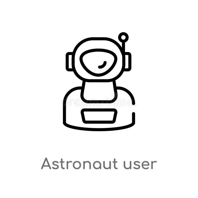 de gebruikers vectorpictogram van de overzichtsastronaut de ge?soleerde zwarte eenvoudige illustratie van het lijnelement van ast stock illustratie