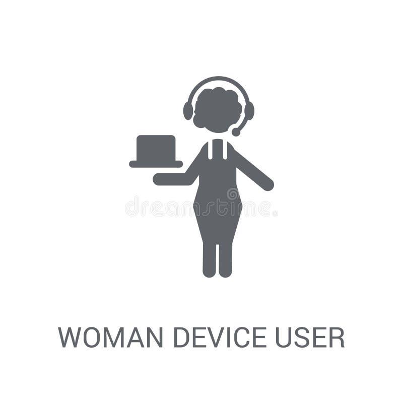 De Gebruikerspictogram van het vrouwenapparaat Het in concept van het de Gebruikersembleem van het Vrouwenapparaat  stock illustratie