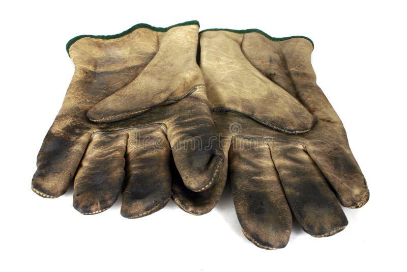 De gebruikte Handschoenen van de Veiligheid stock foto's