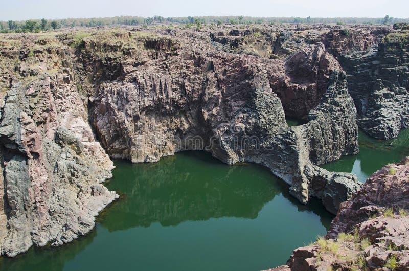 De gedeeltelijke mening van Raneh-dalingen, is een natuurlijke waterdaling op Ken River, Chhatarpur-District, Madhya Pradesh stock afbeeldingen