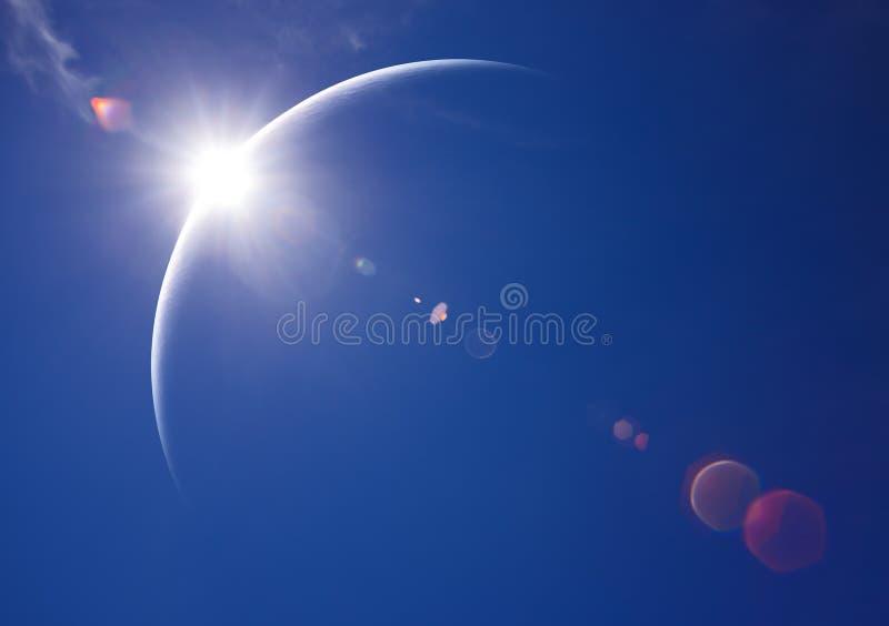 De gedeeltelijke Verduistering van de Zon in Dag stock illustratie