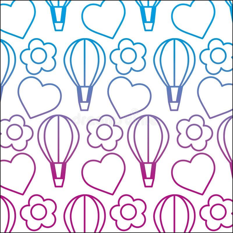 De gedegradeerde ballon van de lijnlucht met hart en bloemachtergrond royalty-vrije illustratie