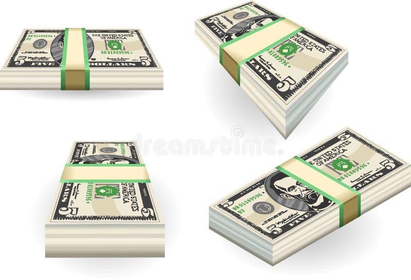 Volledige reeks van vijf dollarsbankbiljetten vector illustratie