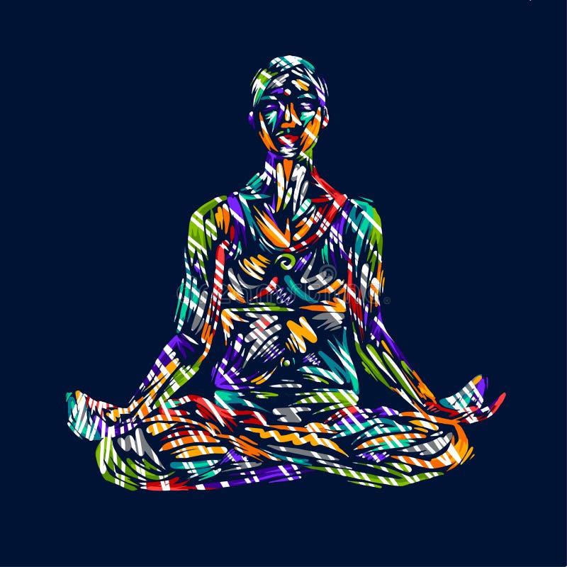 De gedetailleerde illustratie van de silhouetyoga Het concept van de geschiktheid gymnastiek aerobics Stel van de kunst kleurrijk royalty-vrije illustratie
